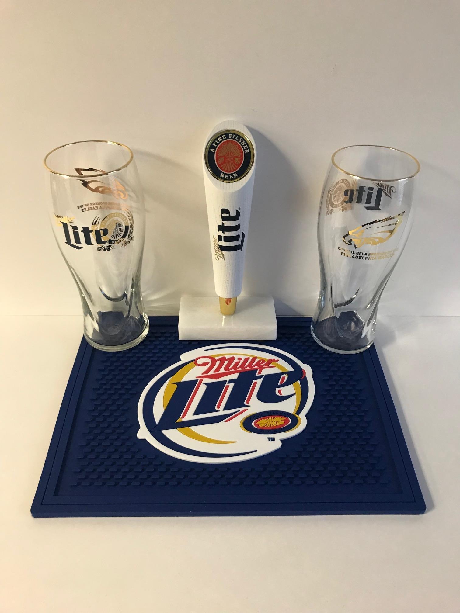 Miller Lite Draft Kit - Philadelphia Eagles - 2 16oz Retro Glasses - 1 Short Retro Tap Handle - 1 Bar Mat