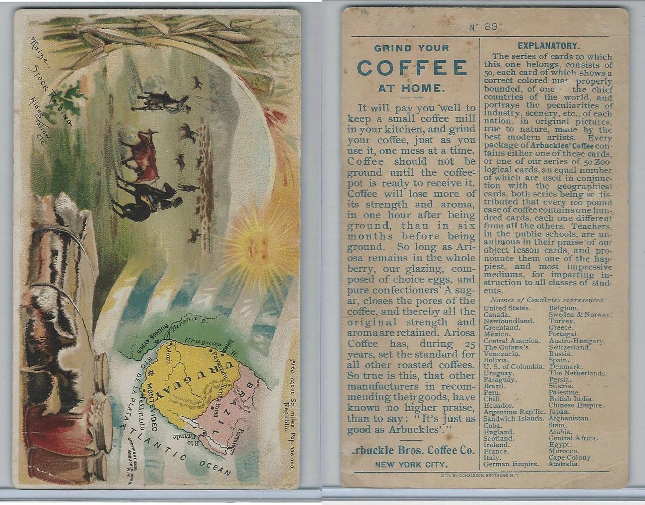 K3 Arbuckle Coffee, Principle Nations of the World, 1890, #69 Uruguay at Amazons Entertainment Collectibles Store