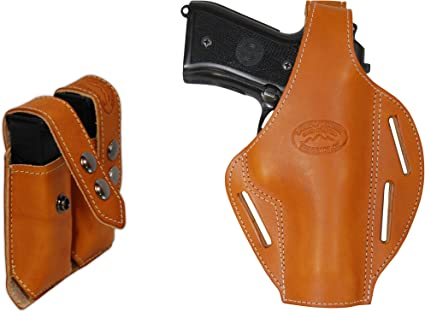 NEW Barsony Tan Leather Double Mag Pouch for Colt Beretta Full Size 9mm 40 45