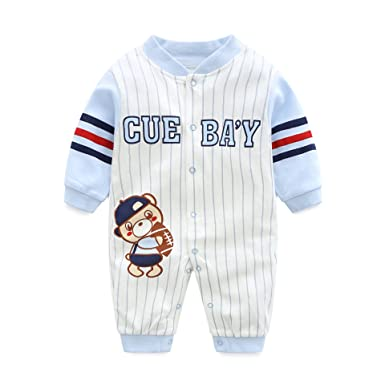 f35a6bd73 AIKSSOO Infant Toddler Baby Outfit Stripe Jersey Style Onesies Printed  Romper Size 3M (Blue Baseball