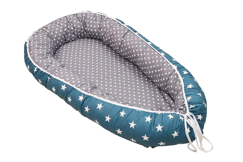 "Soft Cotton Baby Lounger by ULLENBOOM Newborn Snuggle Nest Stars//Polka Dots Boys Blue//Grey 22/"" x 37/"""