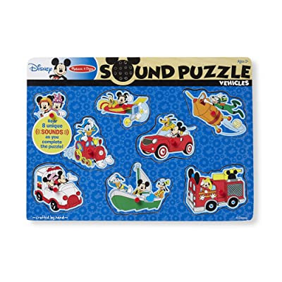 Melissa & Doug Disney Mickey Mouse and Friends Vehicles Sound Puzzle (8 pcs): Melissa & Doug: Toys & Games