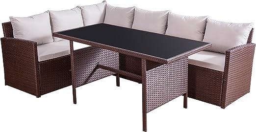 Jet-Line Muebles de Jardín Jardín Set la Palma III marrón sofá Lounge para terraza balcón y jardín de poliratán sofá Mesa con Tablero de Cristal: Amazon.es: Jardín