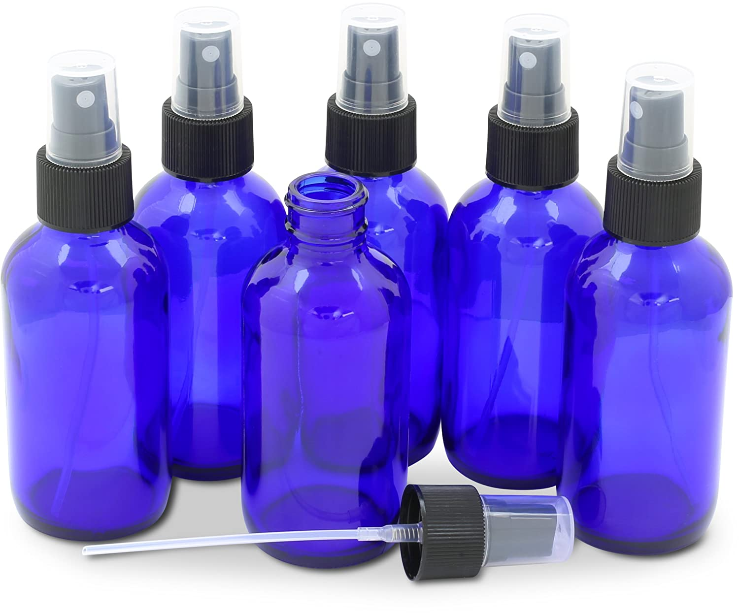 Simple Houseware 6PK 4oz Cobalt Blue Glass Bottles with Mist Sprayer