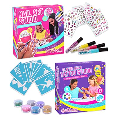 GirlZone Bundle Nail Art Studio Set, Nail Art Stickers, 3 Nail Salon Pens and Makeup Bag & Temporary Glitter Tattoos Kit for Girls, 33 Pieces, Great Gifts for Girls.: Toys & Games
