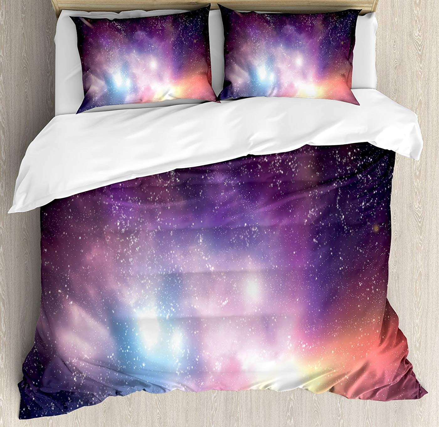 Multi 2 King Fantasy Duvet Cover Set Twin Size, Stormy Apocalypse Sky with Clouds Over Rock Towers on Alien World,Lightweight Microfiber Duvet Cover Sets, Dark bluee Peach Dark Brown