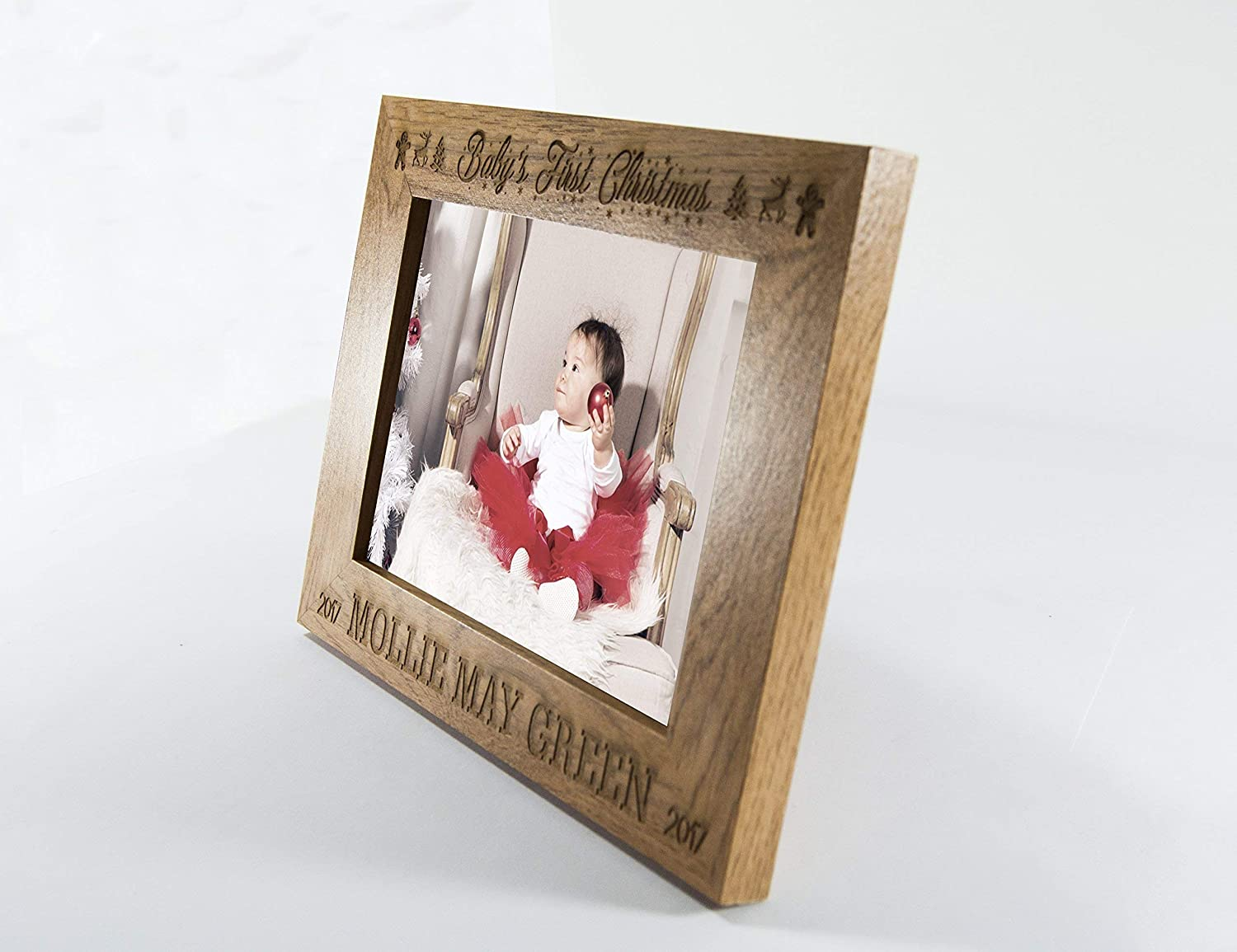 My First Christmas Personalised Engraved Wooden Photo Frame 5x7