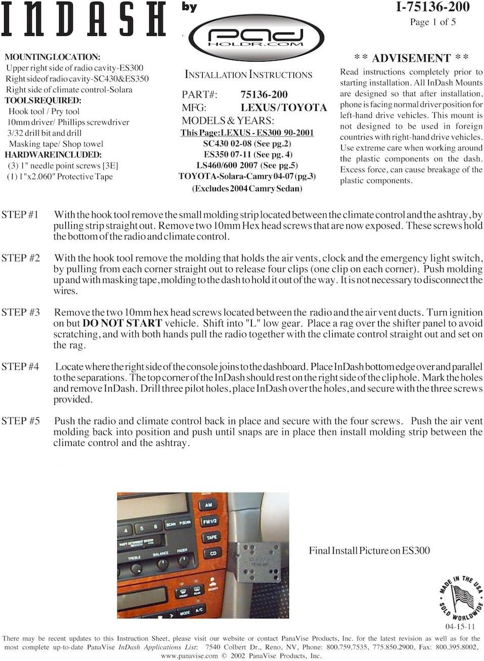 Padholdr Utility Series Premium Locking Tablet Dash Kit for 2004-2008 Toyota Solara Camry