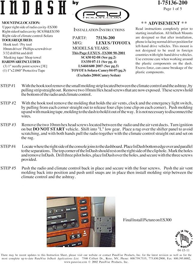 Padholdr Utility Series Premium Locking Tablet Dash Kit for 2007-2011 Toyota Camry