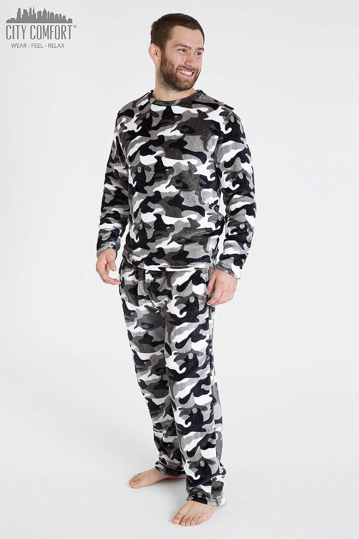 CityComfort Pijama Hombre, Pijama Forro Polar de Dos Piezas ...