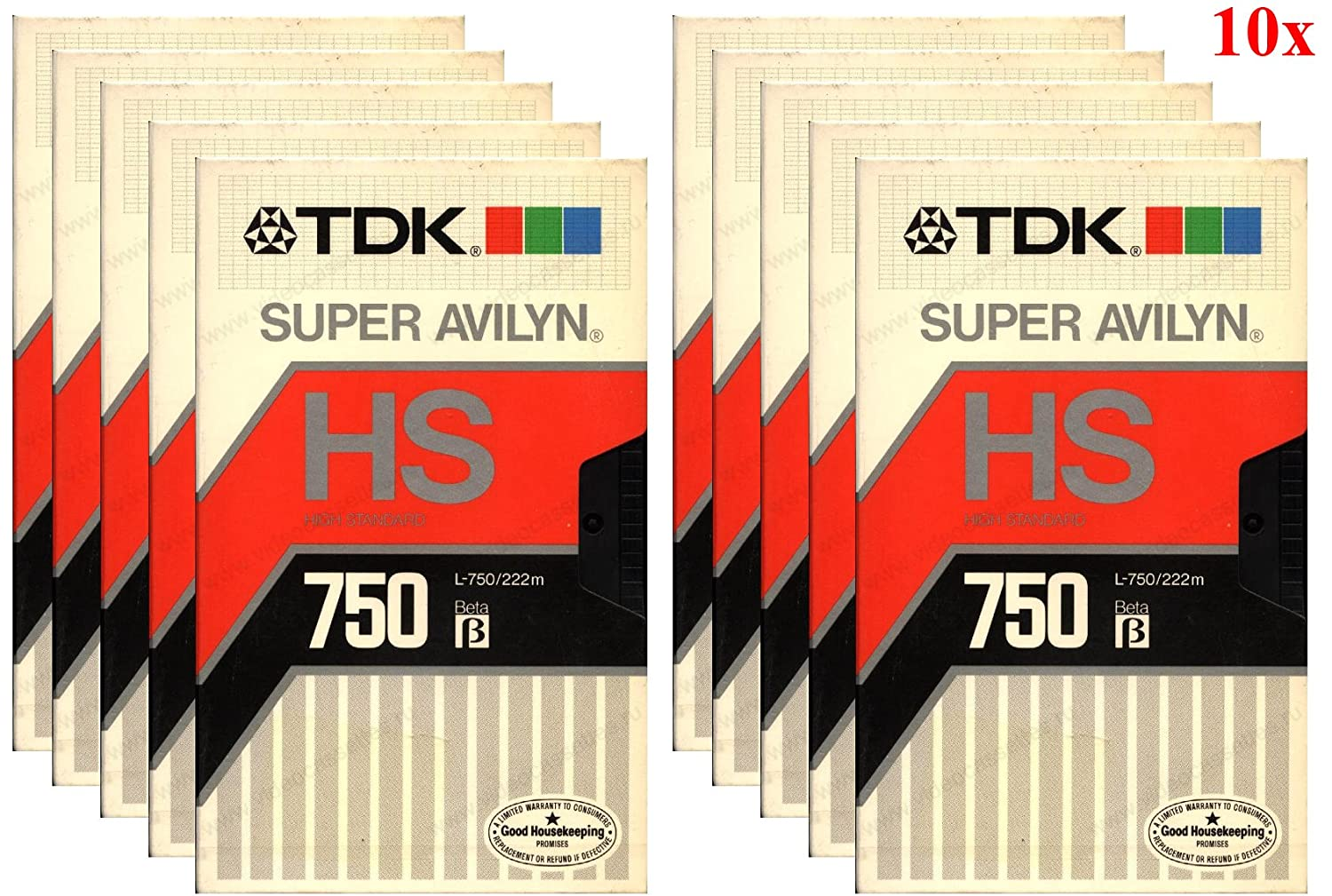 TDK L-750HS Beta Video Cassette Super Avilyn High Standard Tape (10-Pack) TDK Media L750HS-10