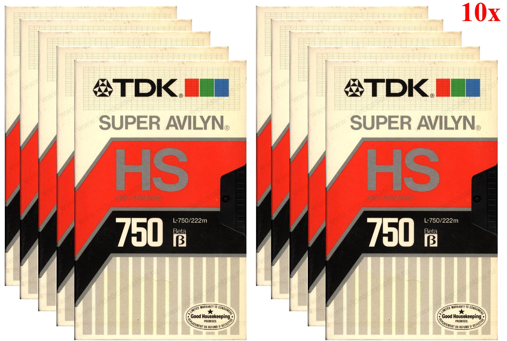 TDK L-750HS Beta Video Cassette Super Avilyn High Standard Tape (10-Pack) by TDK