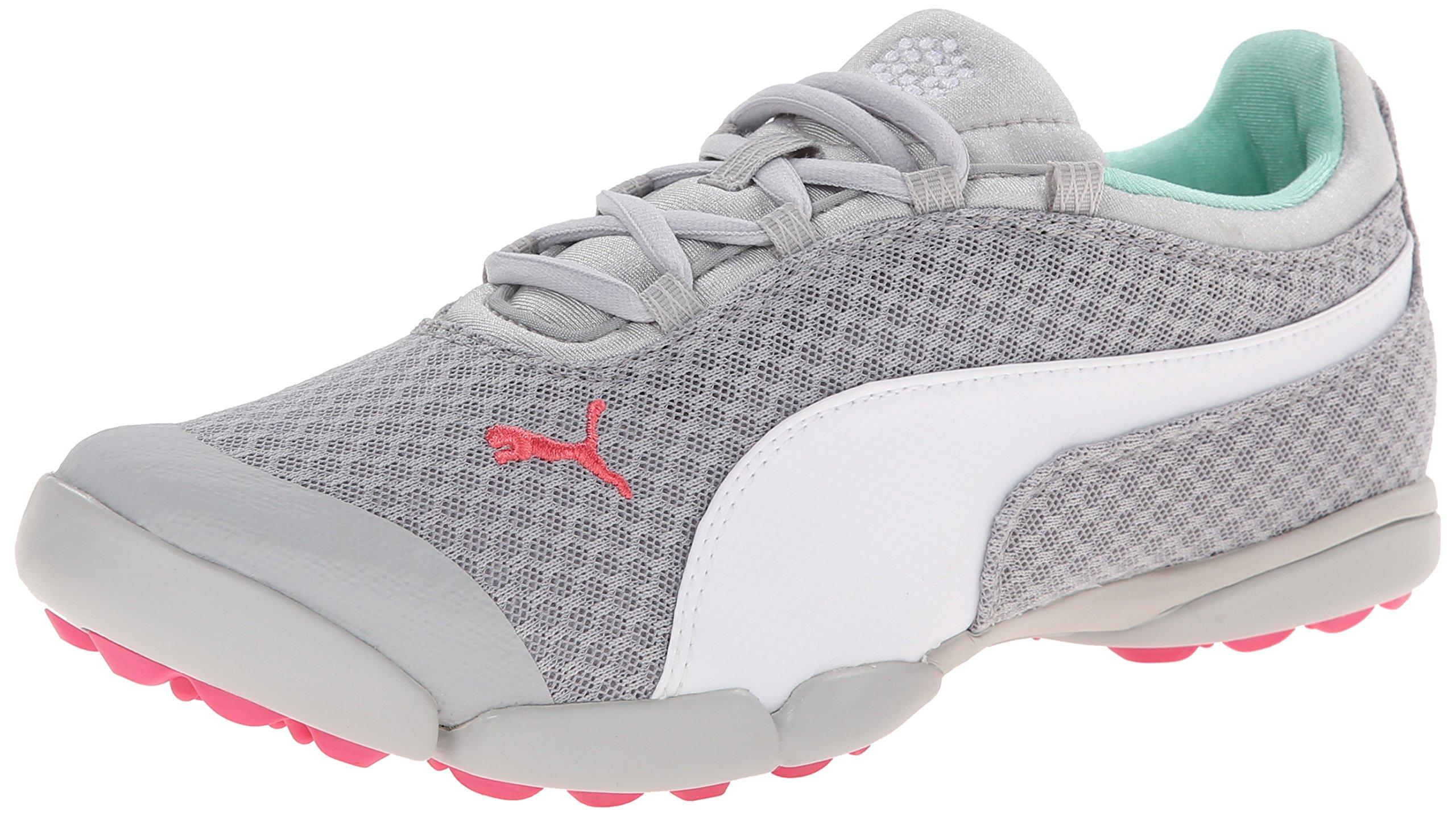PUMA Women's Sunnylite Mesh Golf Shoe Spikeless, Vapor Blue/White/Camellia Rose, 6 M US