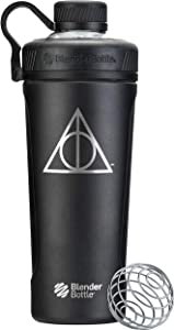 BlenderBottle Harry Potter Radian Insulated Stainless Steel Shaker Bottle Stocking Stuffer, 26-Ounce, Deathly Hallows