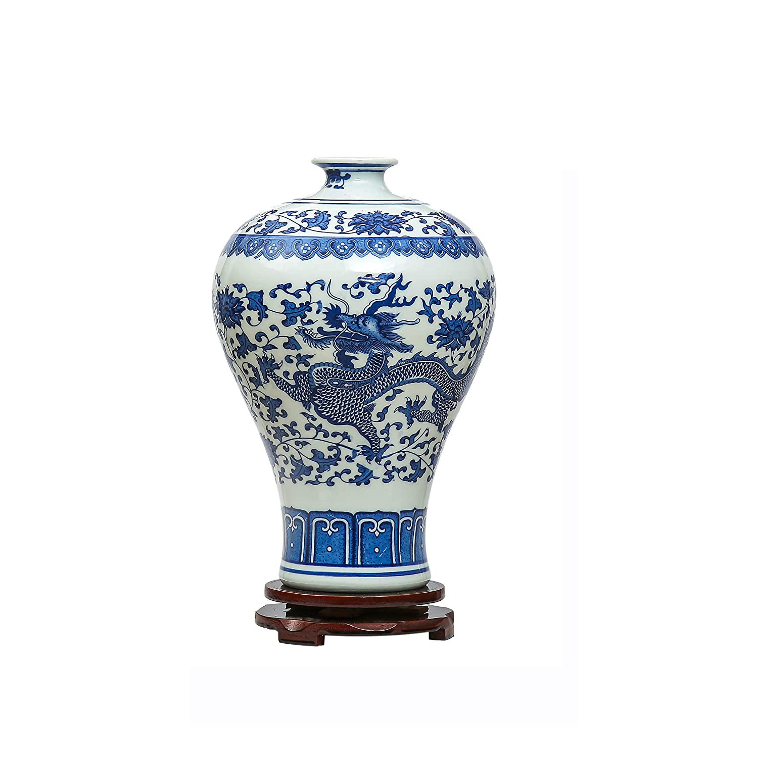 Chinese Dragon Vases,Jing Dezhen Blue and White Vase ,Vintage Ceramic Vase,Ideal Decoration For Home,Office,Party Ufingo