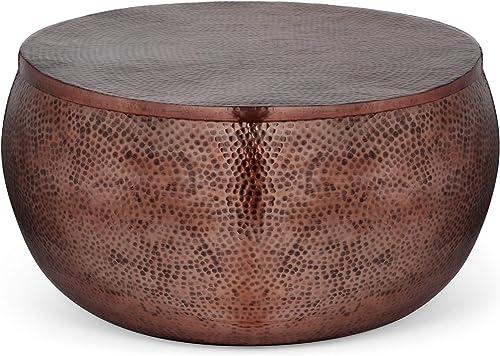 Muriel Modern Round Hammered Aluminum Storage Coffee Table