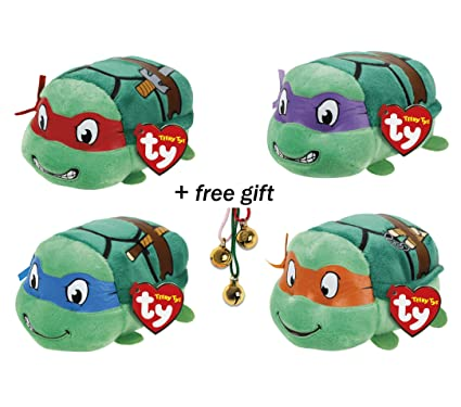 Set of 4 Ty Teeny Tys Teenage Mutant Ninja Turtles (Leonardo, Raphael, Michelangelo, Donatello) Stackable Beanies Plush + Free Gift (3 pieces bell ...