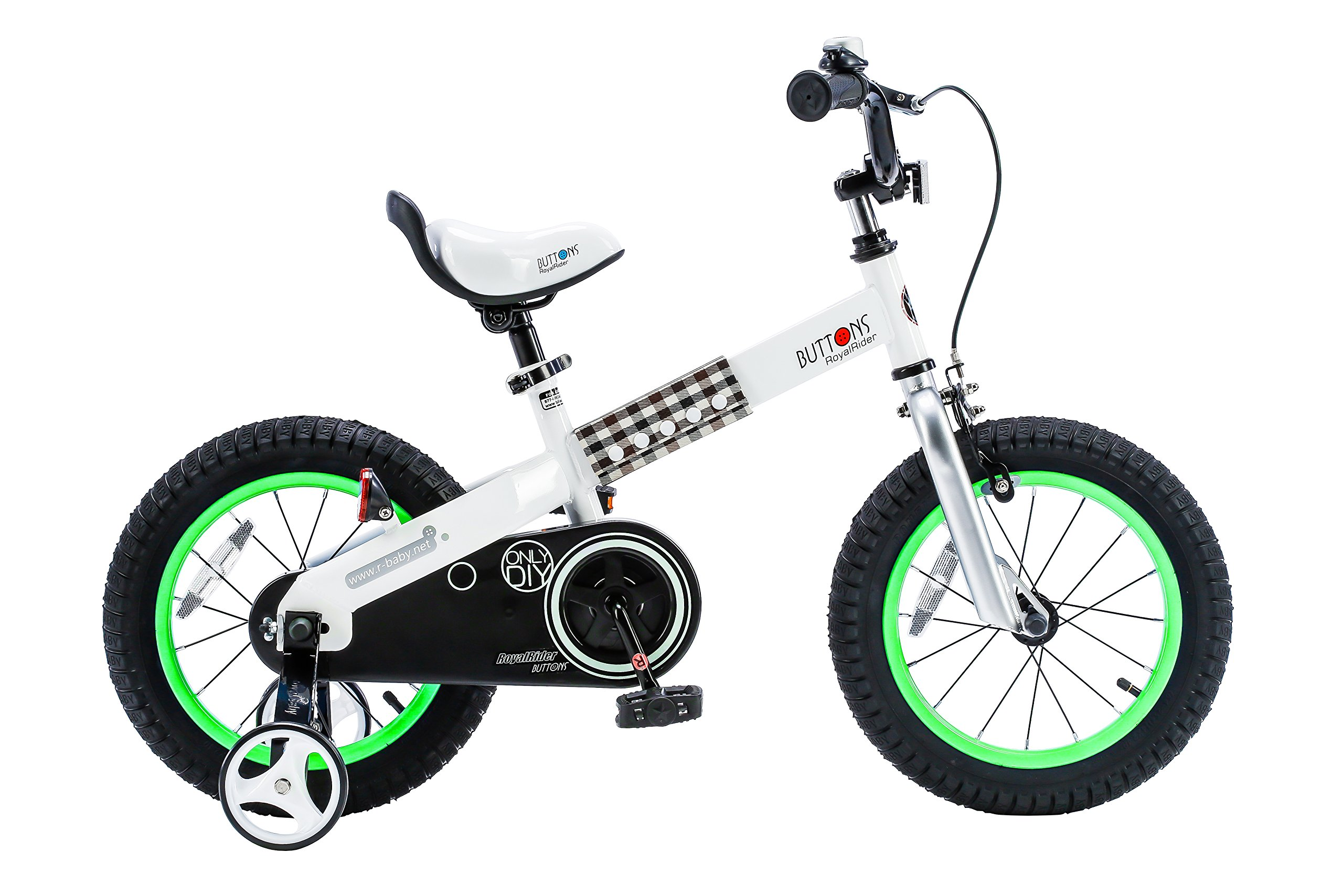 RoyalBaby CubeTube Buttons 14''  Bicycle for Kids, Green