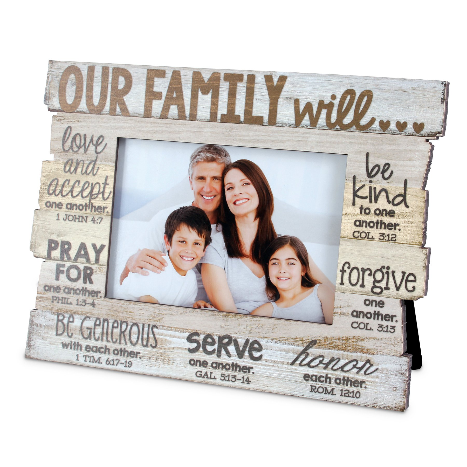 Lighthouse Christian Products Family Stacked Wood Frame