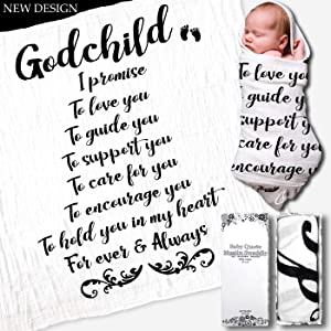 GIFTSFARM White Swaddle Blanket,Goddaughter and Godson Gifts