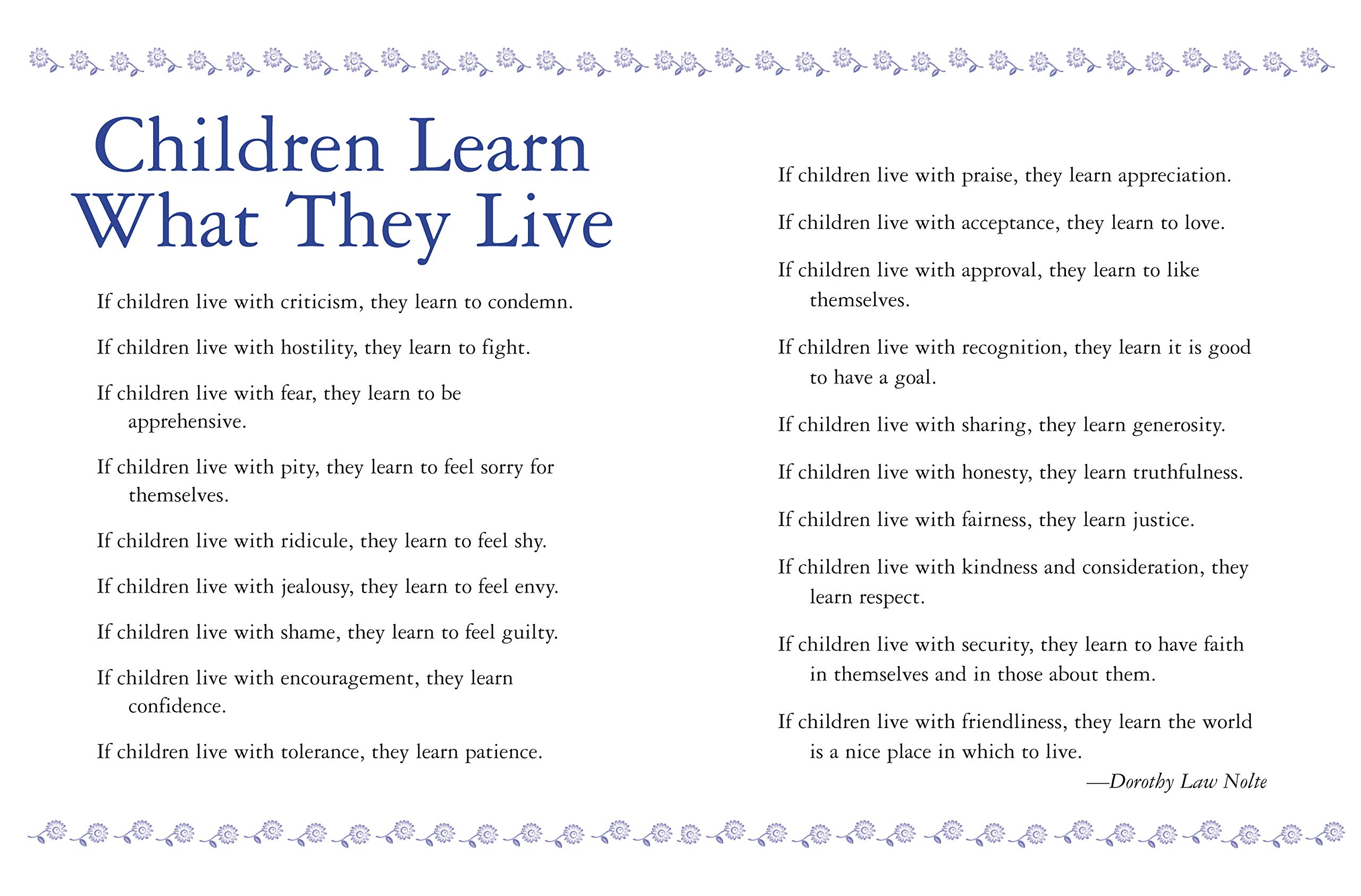 Children Learn What They Live: Parenting to Inspire Values ...