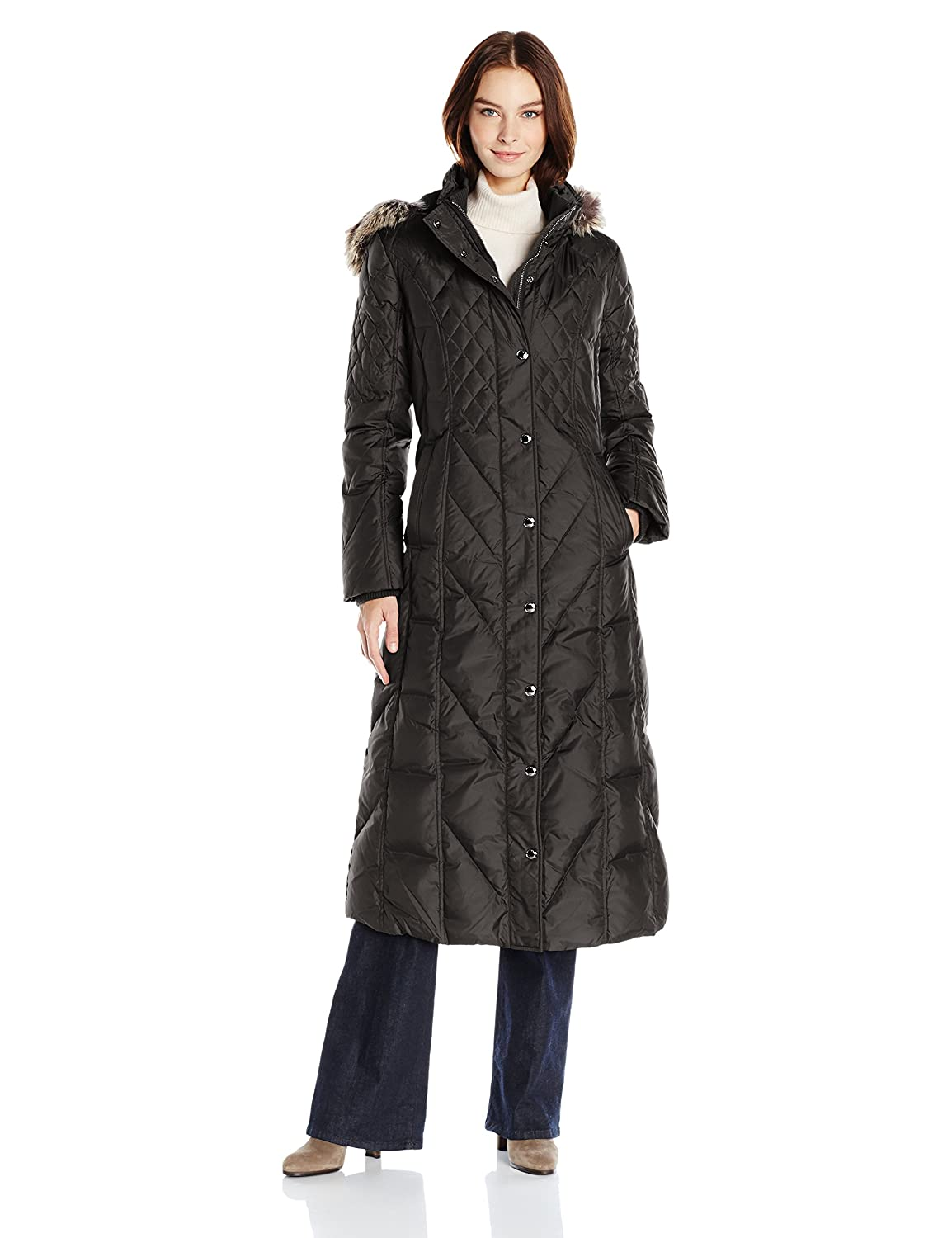 London Fog Women's Maxi 49 Down W/Fur Trim Hood L811814T93
