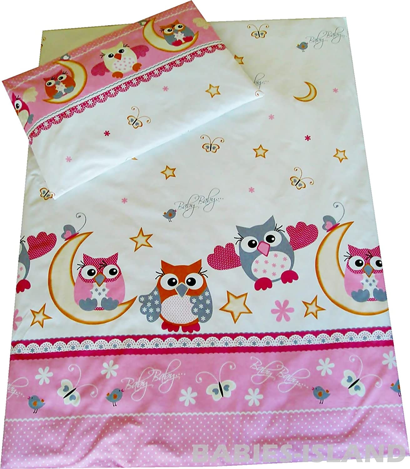 Babies-Island A 2 Piece Bedding Set Pillowcase+Duvet Cover For Baby To Fit Cot/Cot Bed - PINK OWLS WITH PINWHEEL(100x135 cm)