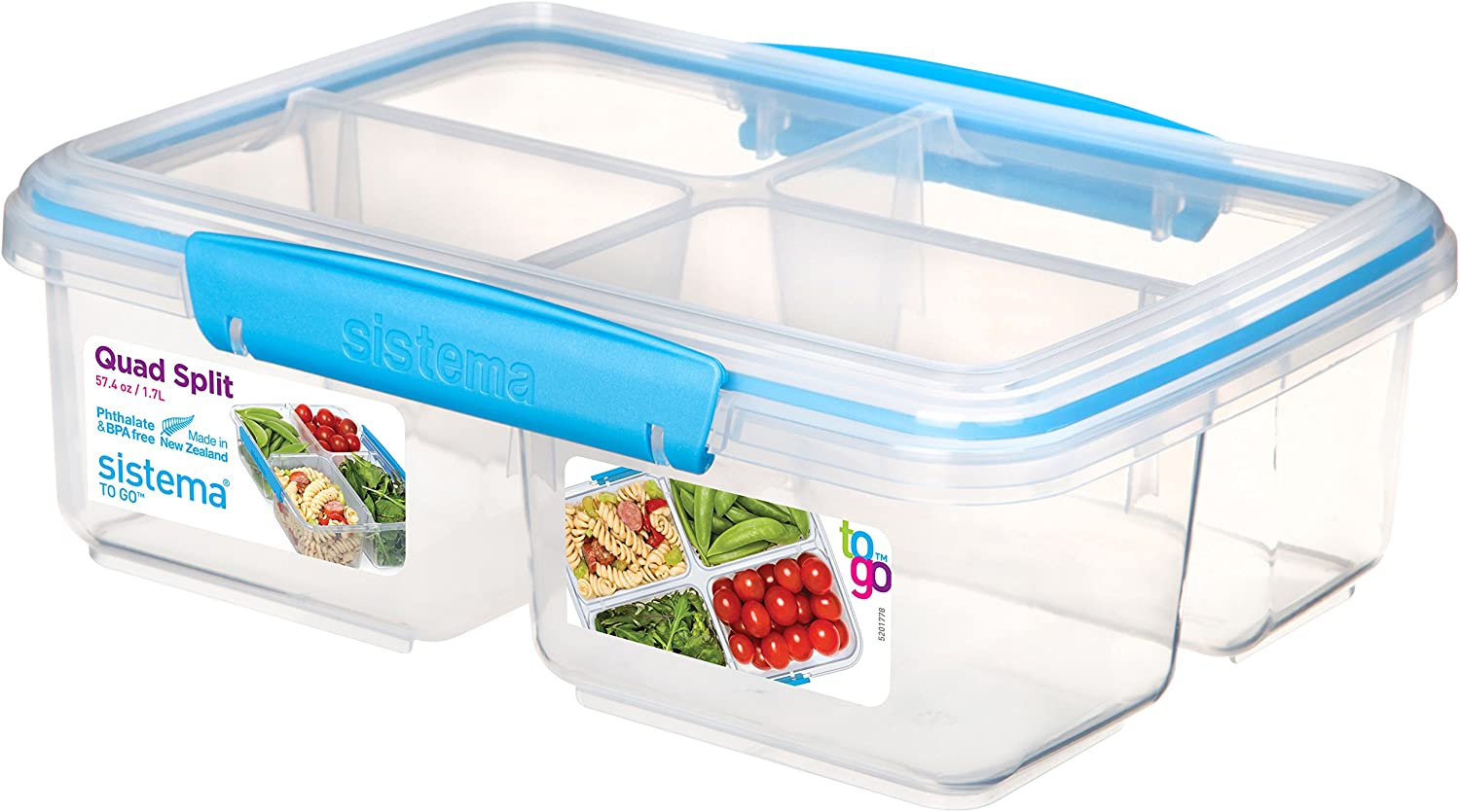 Sistema 1007708 To Go Quad Split Food Storage Container, Clear with Coloured Clips, 1.7 L