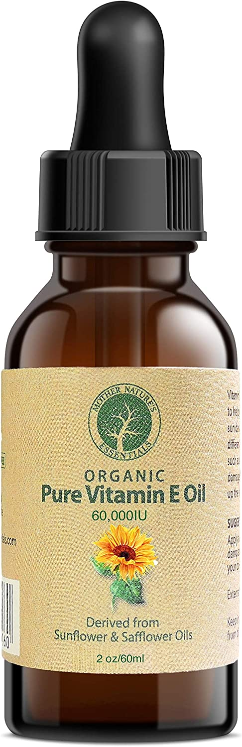 Vitamin E Oil Pure Organic d-Alpha tocopherol 60,000 IU - 2 Ounce, Derived from Non-GMO Sunflower/Safflower Oil, Soy-Free and Wheat-Free. (1-Pack)