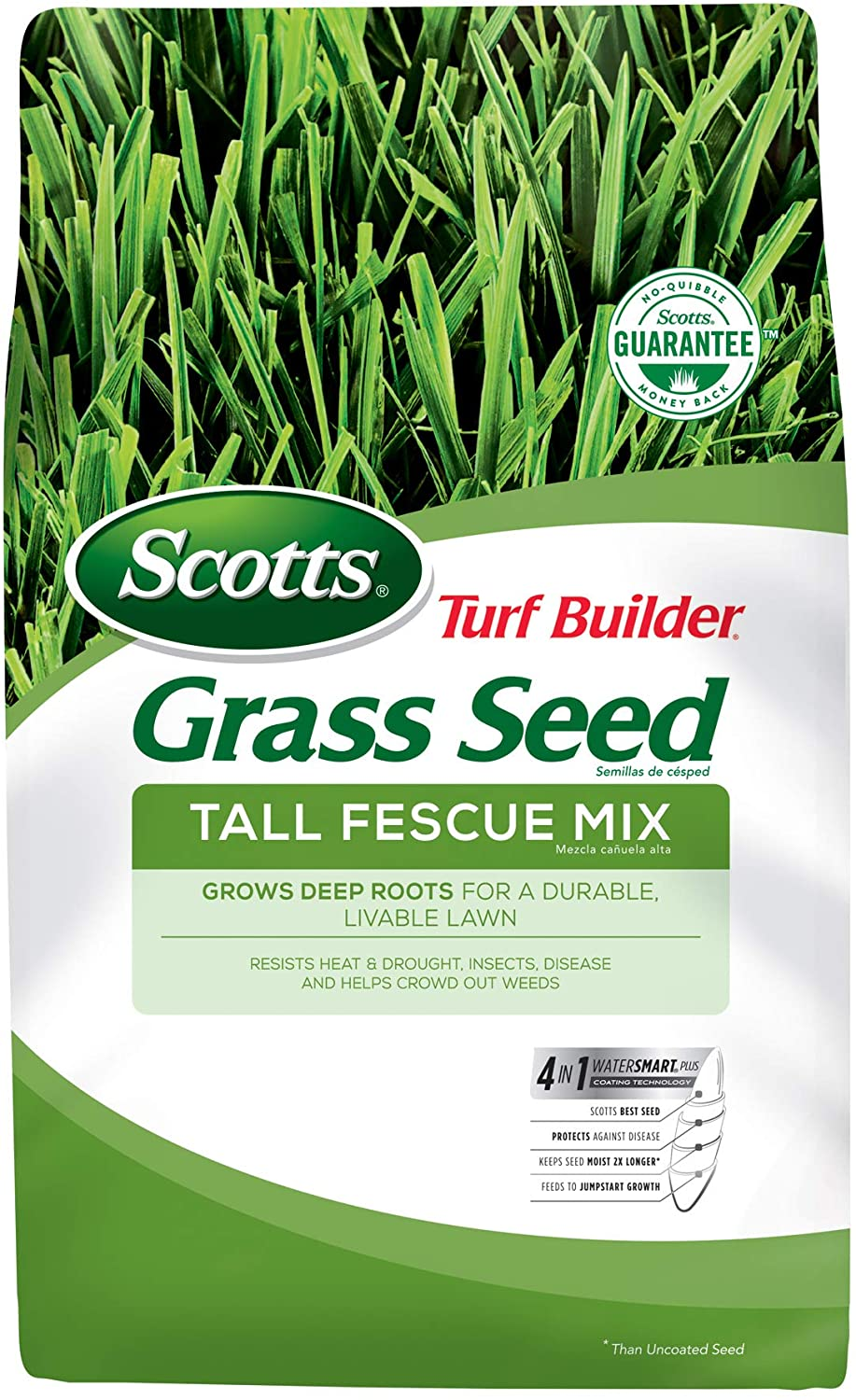 Scotts Turf Builder Grass Seed Tall Fescue Mix, 20 lb. - Full Sun and Partial Shade - Resists Heat and Drought, Insects, Disease and Helps Crowd Out Weeds - Seeds up to 5,000 sq. ft.