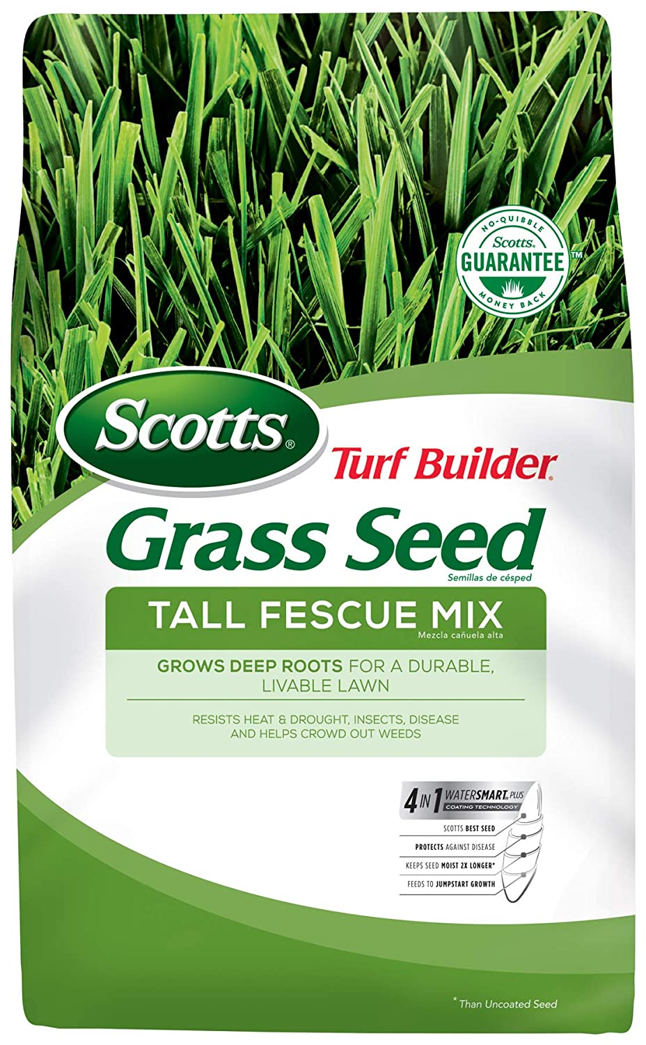 Scotts Turf Builder Grass Seed Tall Fescue Mix - 7 Lb. | Designed For Full Sun & Partial Shade | Use to Seed New Lawn or Overseed Existing Lawn | Grows Deep Roots For A Durable, Livable Lawn |Seeds Up to 1,750 sq. ft.
