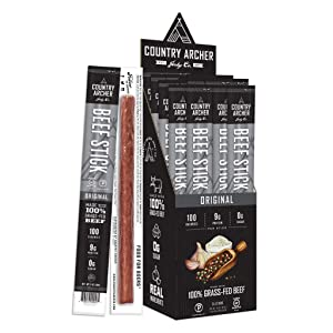 Original Beef Sticks by Country Archer, 100% Grass-Fed, Certified Keto, Paleo, Gluten Free, 24 Count, 1 Ounce (Pack of 24)