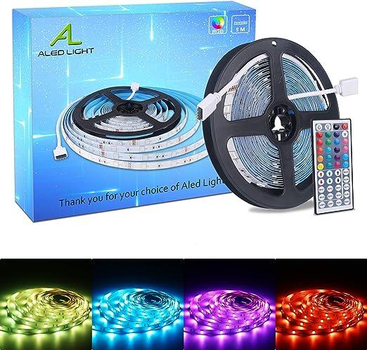 Oferta amazon: ALED LIGHT Tiras LED 5050 RGB 5m de Longitud 150 LED Multicolor Control Remoto de 44 Botones y Fuente de Alimentación           [Clase de eficiencia energética A+]