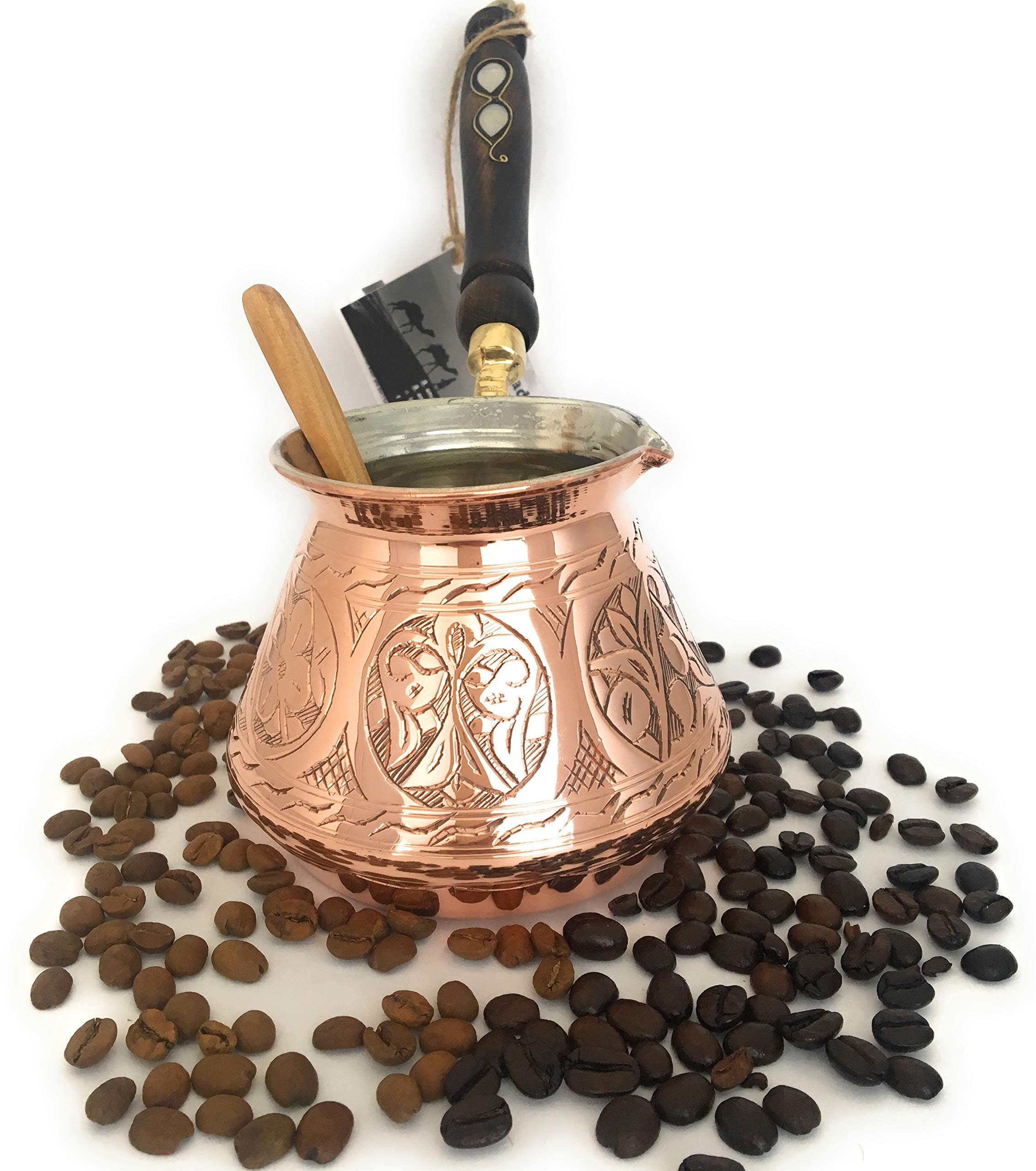 The Silk Road Trade - ACI Series (Large) - Thickest Solid Hammered and Engraved Copper Turkish Greek Arabic Coffee Pot / Coffee Maker Cezve Ibrik Briki with Wooden Handle (18 fl oz) by The Silk Road Trade (Image #3)