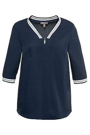 da125f08a80 Ulla Popken Women s Plus Size Stripe Accent Easy Care Blouse Smoke Blue 16  18 714930