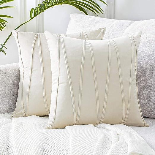 Amazon Com Top Finel Cream Decorative Throw Pillow Covers 18 X 18