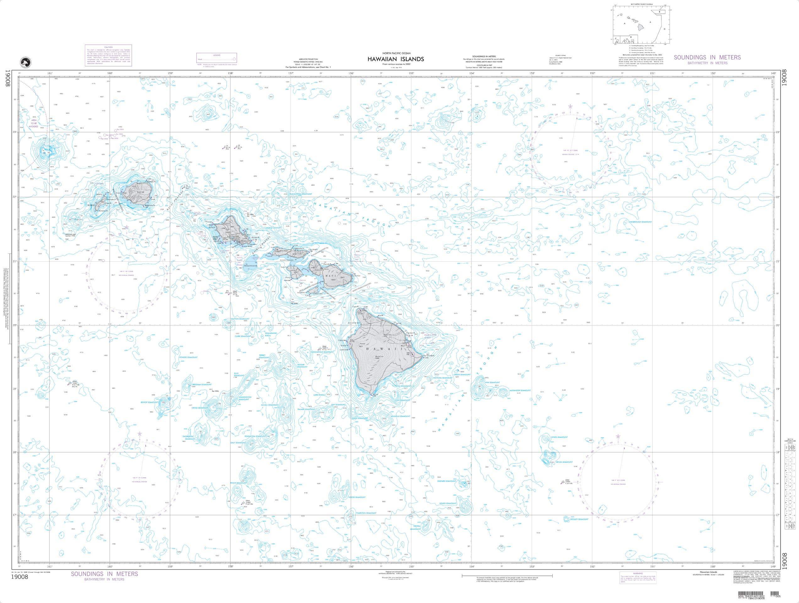 NGA Chart 19008 Hawaiian Islands 53'' x 40'' Paper Chart