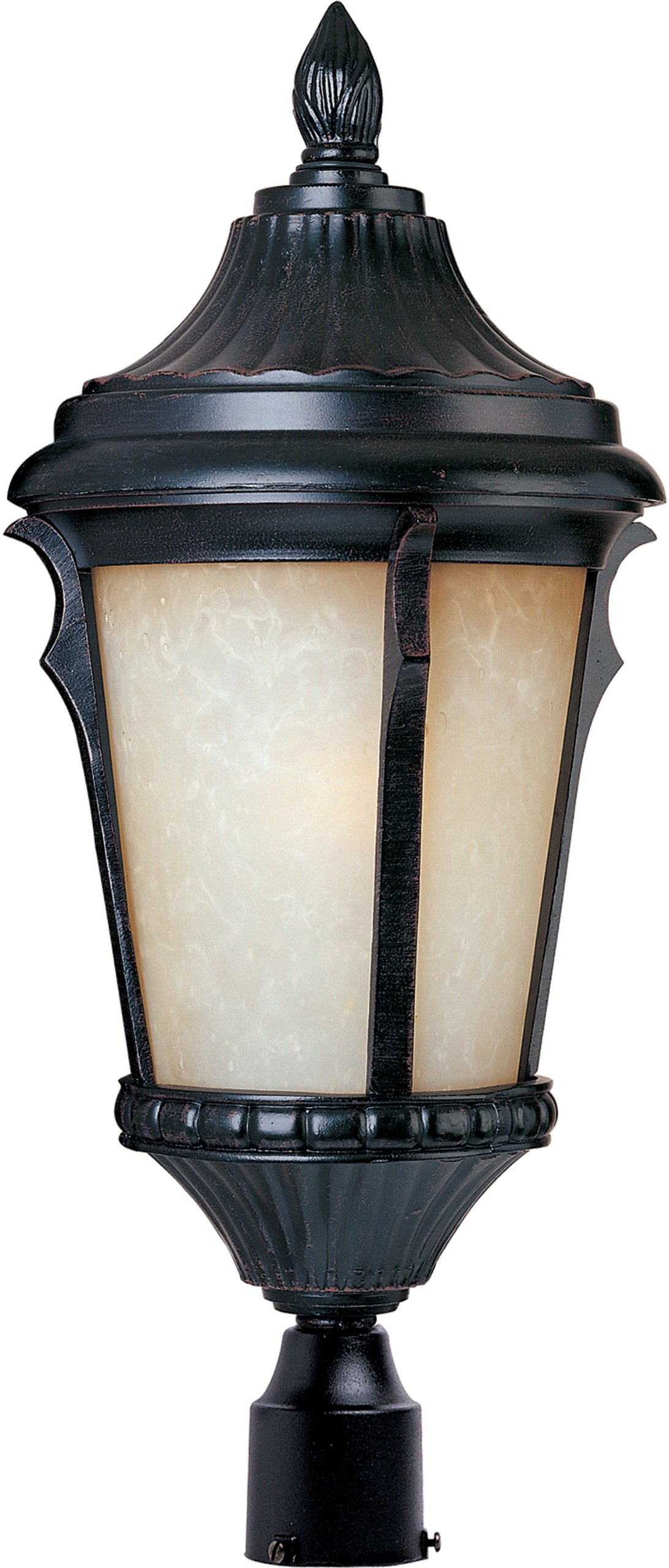 Maxim 55010LTES Odessa LED 1-Light Outdoor Pole/Post Lantern, Espresso Finish, Latte Glass, LED Bulb , 40W Max., Wet Safety Rating, Standard Dimmable, Glass Shade Material, 2016 Rated Lumens