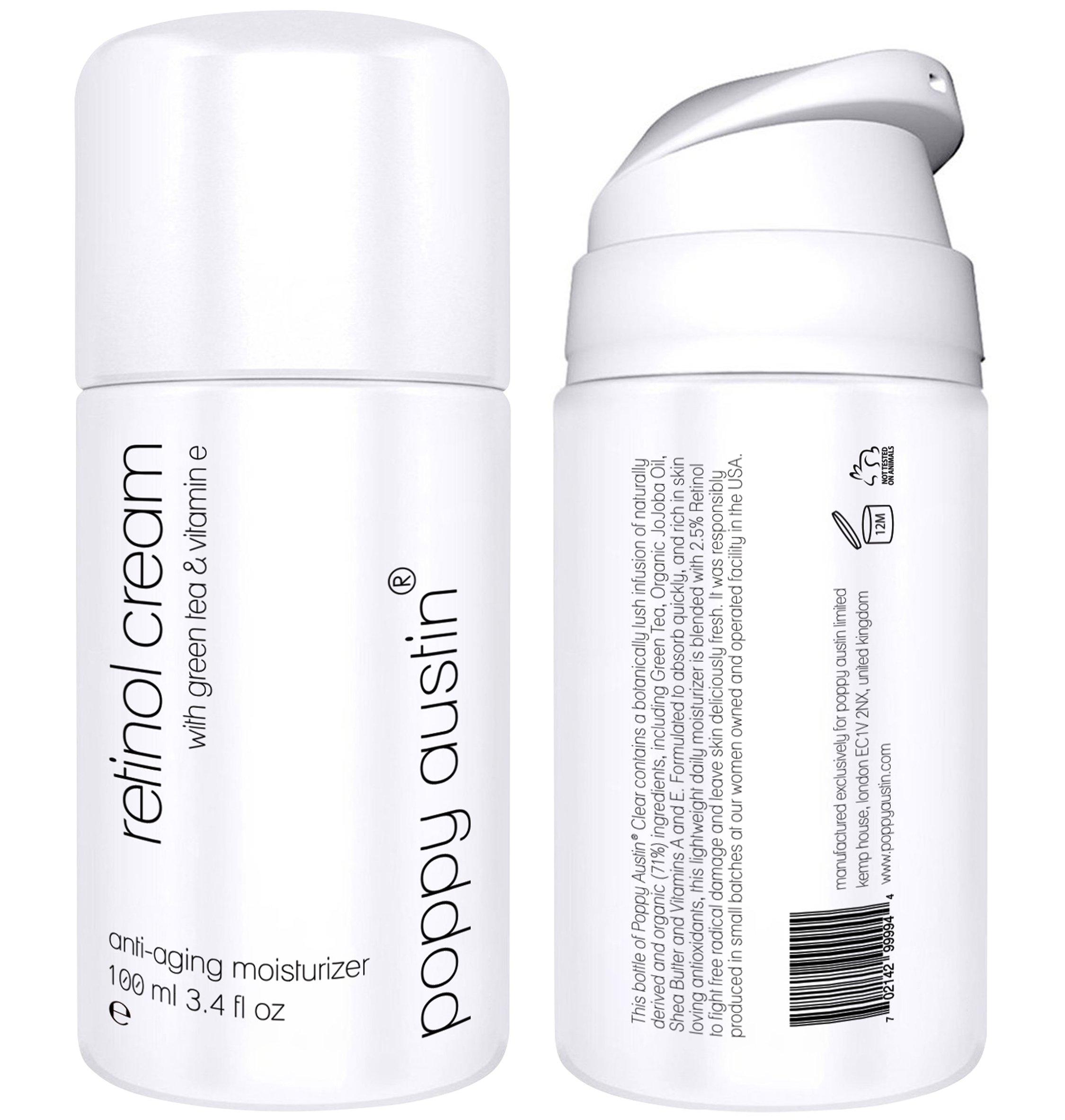 Retinol Cream for Day & Night by Poppy Austin - TRIPLED SIZED 3.4 oz - Cruelty-Free, 2.5% Retinol, Vitamin E, Green Tea & Shea Butter - Anti Ageing Face Moisturiser & 2018 Best Wrinkle Cream