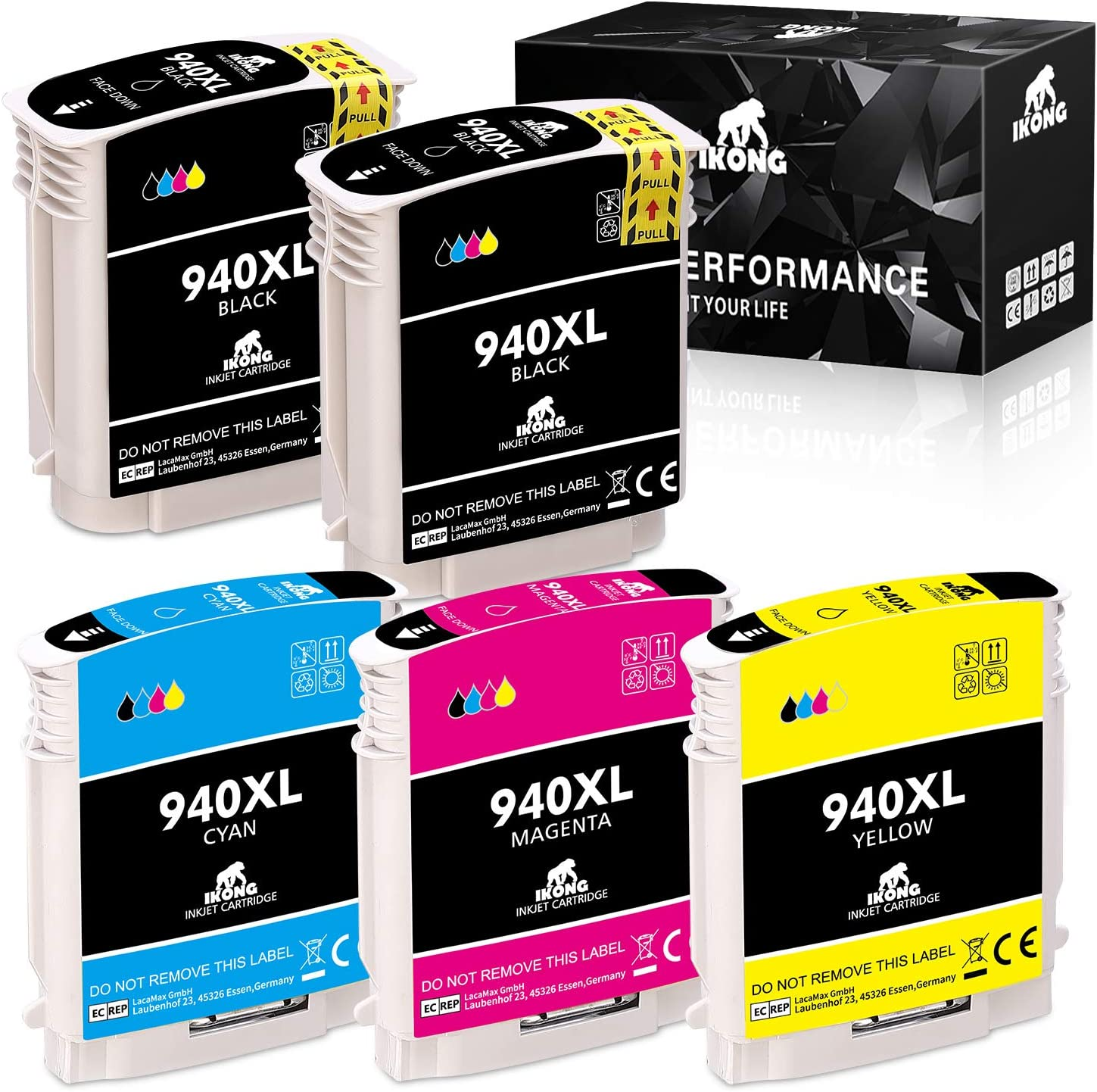 5-Pack IKONG 940XL High Yield Remanufactured Replacement for HP 940 Ink Cartridges use wirh HP Officejet Pro 8000 8500 8500A 8500A Plus Printer
