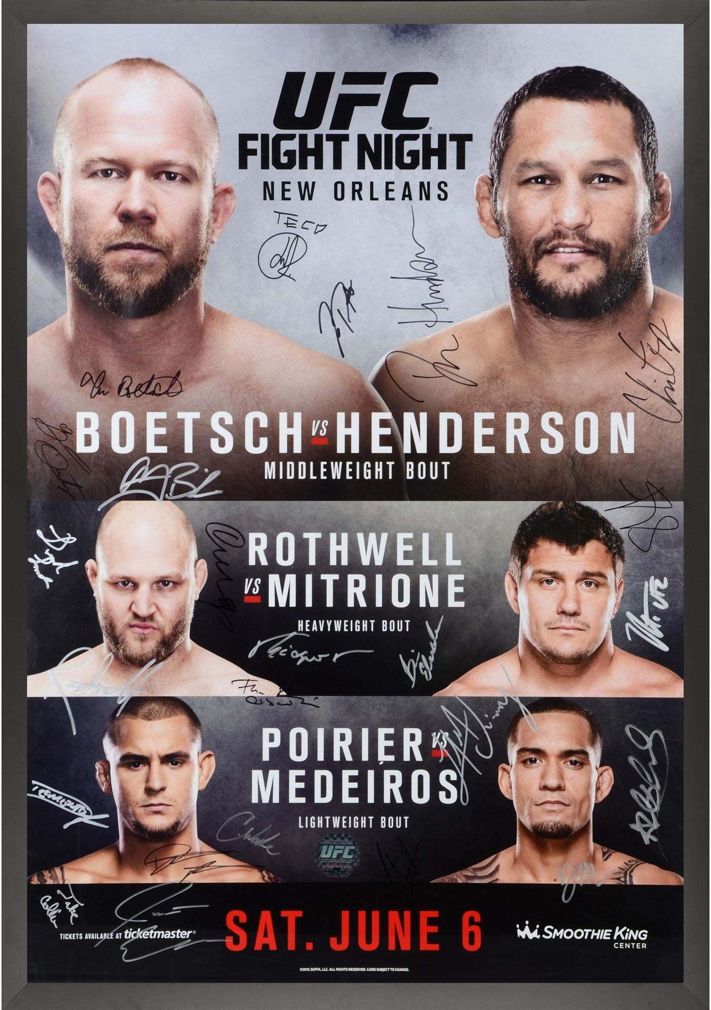 """UFC Fight Night 68 Boetsch vs. Henderson Framed Autographed 27"""" x 39"""" 24 Signature Fight Poster Fanatics Authentic Certified"""