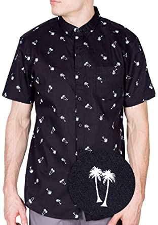 c278f492 Visive Mens Hawaiian Shirt Short Sleeve Button Down Shirts Black Palm Tree  XXX-Large