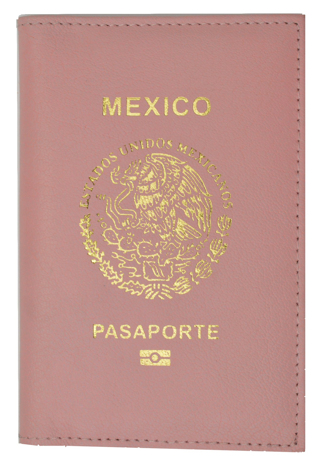 Mexico Passport Cover Genuine Leather Travel Wallet with Emblem Pasaporte (Pink)