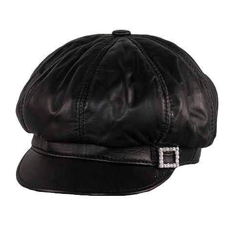ffdf7c91f0487 Dazoriginal Baker Boy Mujer Boina Cuero Gorra Rojo Piel Gatsby Beret  Sombrero (Negro)