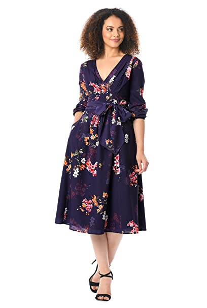 60s 70s Plus Size Dresses, Clothing, Costumes eShakti Womens Pleated Floral Print Crepe Midi Dress $49.95 AT vintagedancer.com