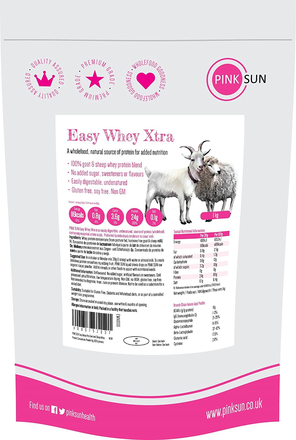 PINK SUN Proteína de Suero de Cabra y Oveja 1kg - Easy Whey Xtra Goat and Sheep Whey Protein Concentrate Powder 1000g: Amazon.es: Salud y cuidado personal