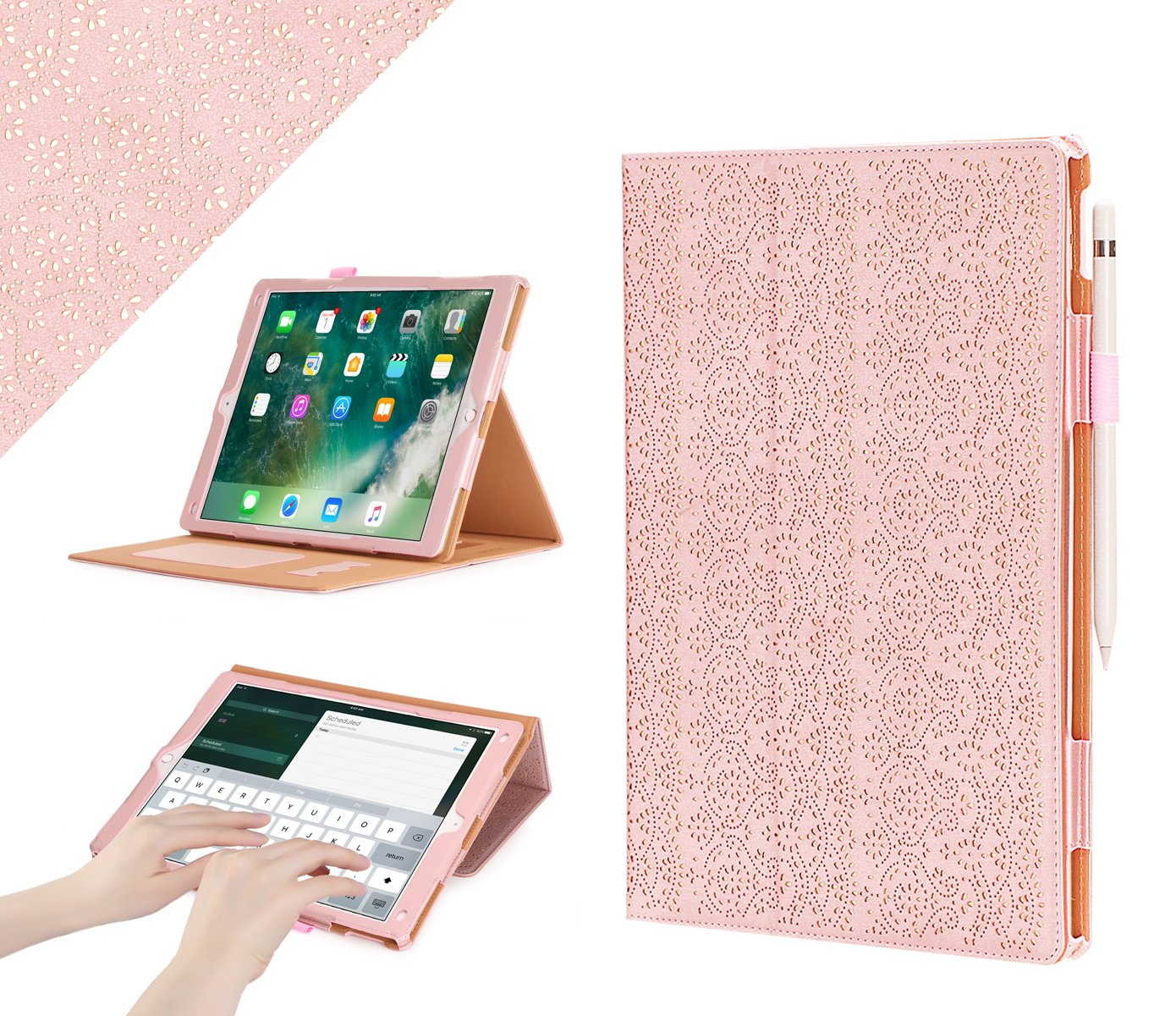 iPad Pro 12.9 (Compatible with 2017 and 2015 Model) Case, WWW [Luxury Laser Flower] Premium PU Leather Case Protective Cover with Auto Wake/Sleep Feature for iPad Pro 12.9 (Both 2017 and 2015) Pink