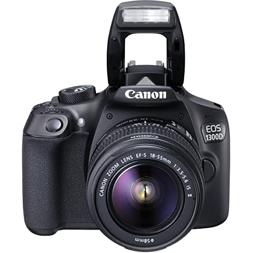 Canon EOS 1300D Kit Fotocamera Reflex Digitale da 18 Megapixel con Obiettivo EF-S IS II 18-55 mm, Wi-Fi, NFC, Versione EU, Nero/Antracite