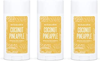 product image for Schmidt's Aluminum Free Natural Deodorant for Women and Men, Coconut Pineapple for Sensitive Skin with 24 Hour Odor Protection, Certified Cruelty Free, Vegan Deodorant, 3.25 oz 3-pack