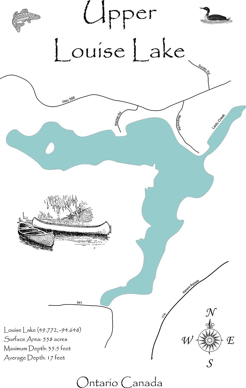 Map Of Kenora Canada.Amazon Com Upper Lake Louise Ontario Canada Framed Wood Map Wall